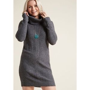ModCloth | Cowl Neck Sweater Dress In Gray
